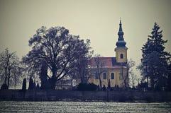 Ładny antyczny kościół Troubsko - Południowy Moravia - republika czech przypuszczenia kościół novgorod zdjęcia royalty free