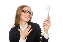 Ładny biurowego pracownika mienia telefon odizolowywający Obraz Royalty Free