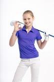 Ładny dziewczyna golfista na białym backgroud w studiu Fotografia Royalty Free