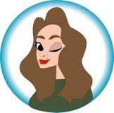 Ładny dziewczyna portret w kreskówka stylu, ilustracyjny wektor EPS10 royalty ilustracja