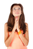 Ładny dziewczyny modlenie i patrzeć oddolny obraz royalty free