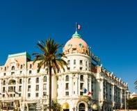 Ładny, Francja - 2019 Hotelowy Negresco jest sławnym luksusowym hotelem na deptaka des Anglais w Ładnym obraz royalty free