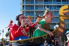 ŁADNY, FRANCJA, LUTY - 22: Karnawał Ładny w Francuskim Riviera Temat dla 2015 był królewiątkiem muzyka Ładny, Francja, Feb - 22,  Obrazy Royalty Free