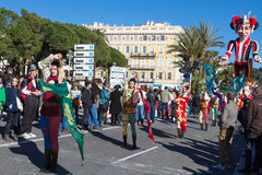 ŁADNY, FRANCJA, LUTY - 22: Karnawał Ładny w Francuskim Riviera Temat dla 2015 był królewiątkiem muzyka Ładny, Francja, Feb - 22,  Fotografia Royalty Free