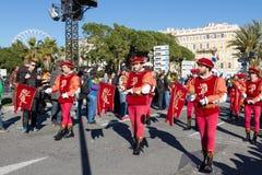 ŁADNY, FRANCJA, LUTY - 22: Karnawał Ładny w Francuskim Riviera Temat dla 2015 był królewiątkiem muzyka Karnawał trzymał w 201 Fotografia Stock