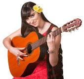 Ładny gitara gracz zdjęcia royalty free