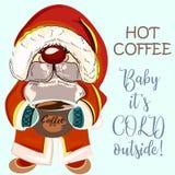 Ładny karzeł lub Santa trzyma filiżankę kawy Dziecko swój zimni outs ilustracja wektor