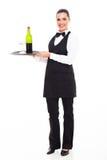 Kelnerki sommelier wino Obrazy Stock