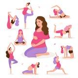 Ładny kobieta w ciąży robi joga, mieć zdrowego styl życia i relaks, ćwiczy dla kobieta w ciąży wektoru mieszkania royalty ilustracja
