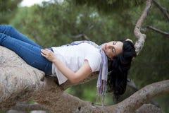 Ładny kobiety dosypianie w drzewie po być nad pracujący i mieć kłopotu dosypianie Zdjęcia Stock