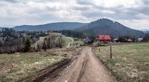 Ładny krajobraz ślązaka Beskids góry bellow Cieslar wzgórze Zdjęcia Stock