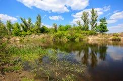 Ładny lato krajobraz z rzeką fotografia royalty free