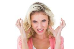 Ładny młody blondynki czuć gniewny Zdjęcie Royalty Free