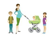 Ładny młody kobieta w ciąży z pram i dziećmi ilustracja wektor