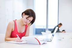 Ładny młody studenta collegu studiowanie w bibliotece Zdjęcia Royalty Free