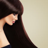 Ładny model z Piękną Brown fryzurą zdrowy długo włosów obrazy royalty free