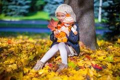 Ładny mody dziewczyny obsiadanie pod klonowym drzewem Zdjęcie Royalty Free