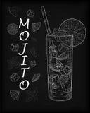 Ładny mojito lód - zimny szkło na czarnym tle Soda z w ilustracja wektor