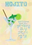 Ładny mojito lód - zimny szkło na koloru tle Soda z w ilustracji