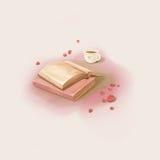 Ładny moment: Czytelnicza książka i Pić kawa ilustracji