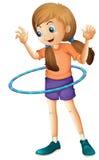 Ładny nastolatek bawić się z hulahoop ilustracji