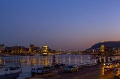 Ładny noc widok na Budapest, Węgry Fotografia Royalty Free