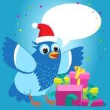 Ładny Opowiadać Z Tobą Wesoło kartka bożonarodzeniowa Z kreskówka Błękitnym Ptasim wektorem Bożenarodzeniowych teraźniejszość pre royalty ilustracja