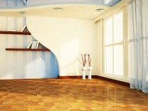 Ładny pokój z dużym okno wazy, półki, ilustracja wektor