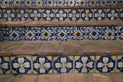 Ładny projekt kwiecisty ceramicznej płytki schody tło Fotografia Royalty Free