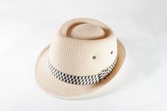 Ładny słomiany kapelusz odizolowywający na białym tle, Brown słomiany kapelusz ja Obrazy Royalty Free