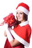 Ładny Santa dziewczyny portret fotografia stock