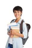 Ładny student uniwersytetu z podręcznikami zdjęcia stock
