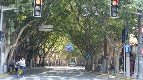 Ładny Szanghaj stree widok podczas długich wakacji w Szanghaj na Oct zdjęcie stock