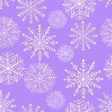 Ładny zima płatka śniegu set wektor bezszwowy wzoru Zdjęcie Royalty Free