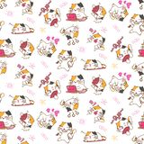 Ładnych kotów bezszwowy deseniowy tło royalty ilustracja