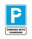 Ładować parkujący drogowego znaka Czopuje wewnątrz listowego P Zdjęcia Royalty Free