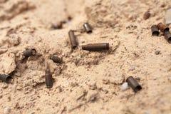 Ładownicy od ładownic kłamają w piasku obrazy stock