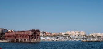 Ładownicza platforma umieszczająca w Almeria Hiszpania społeczeństwo kopalina 'Kolejowa firma Limitedi' obraz stock
