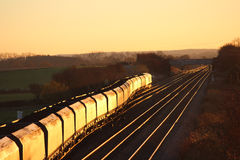 Ładowny węgla pociąg w wieczór świetle słonecznym blisko Jork Zdjęcia Stock