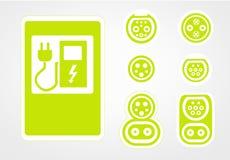 Ładuje stacja nowożytny elektryczny pojazdu logo na ulicie która jest przyszłością, tła ilustracyjny valentine wektor mieszkanie Obraz Royalty Free