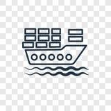 Ładunek łodzi pojęcia wektorowa liniowa ikona odizolowywająca na przejrzystych półdupkach ilustracja wektor