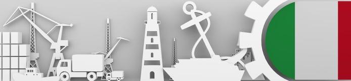 Ładunek portowe względne ikony ustawiać z Irlandia zaznaczają Zdjęcia Stock