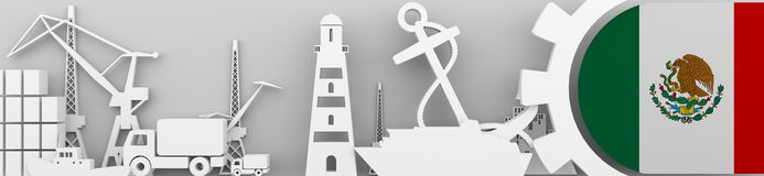 Ładunek portowe względne ikony ustawiać z Meksyk zaznaczają Obrazy Stock