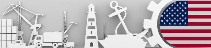 Ładunek portowe względne ikony ustawiać z usa zaznaczają Zdjęcia Royalty Free
