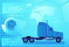 Ładunek przyczepy Ciężarowy pojazd Nad Światową mapą Na całym świecie Doręczeniowy pojęcie I Wysyłać Zdjęcia Stock