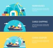 Ładunków Magazynowych udostępnień, wysyłki, transportu i portu morskiego Horyzontalni sztandary, Zdjęcie Stock