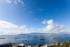 Ładunków statki w Gibraltar Zdjęcia Royalty Free