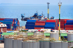 ładunków zbiorników portu magazyn Zdjęcie Royalty Free