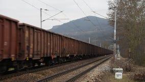 Ładunku pociąg w dolinie rzeczny Labe zbiory wideo