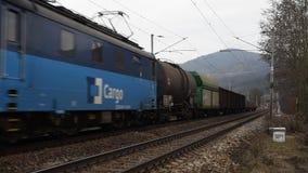 Ładunku pociąg w dolinie rzeczny Labe zdjęcie wideo